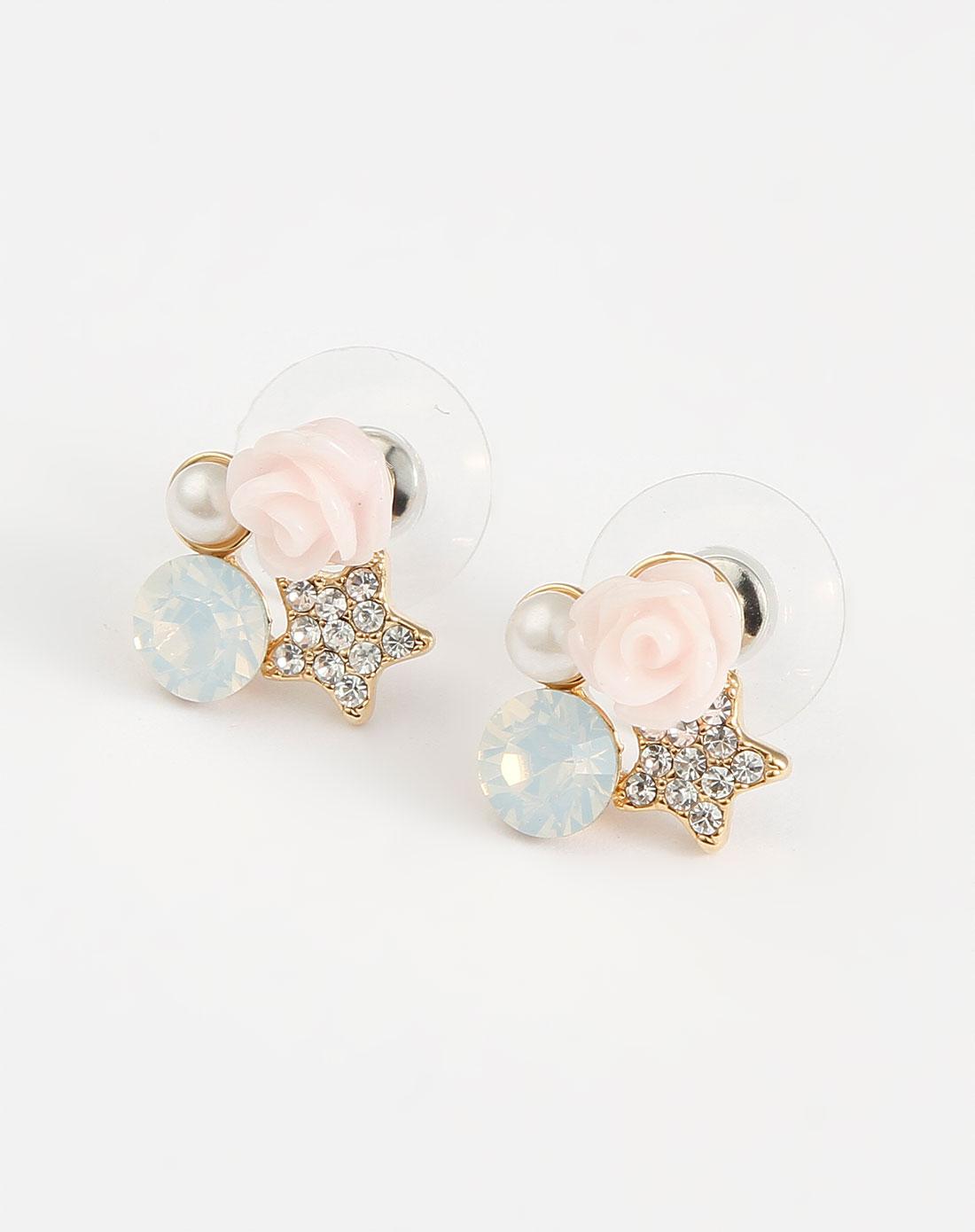 粉/浅蓝色玫瑰花典雅耳环