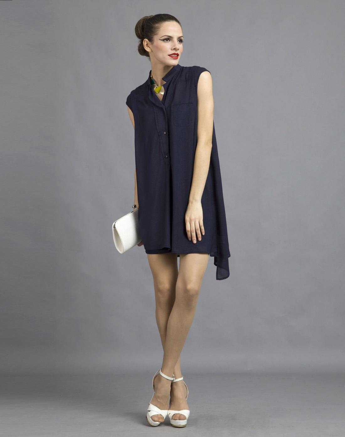 藏蓝色薄纱透视时尚盖肩袖连衣裙