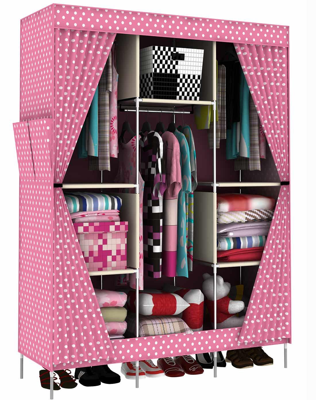 家世比homebi家具专场双开侧拉门欧式布衣柜粉色圆点