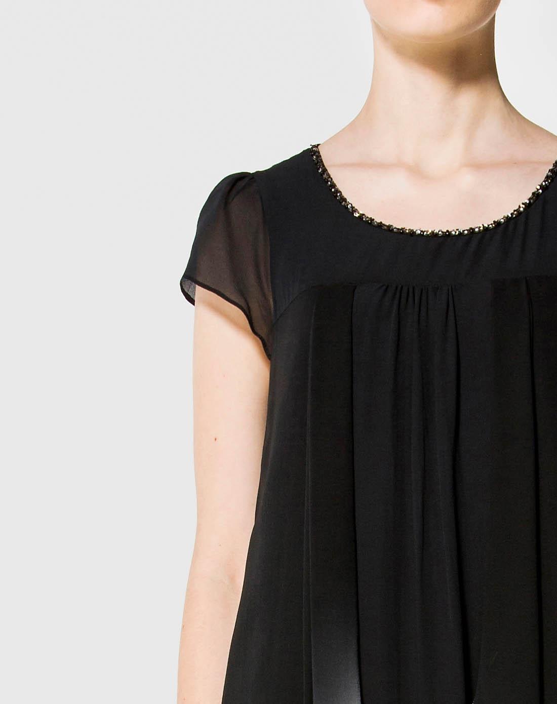 黑色手绘桑蚕丝连衣裙