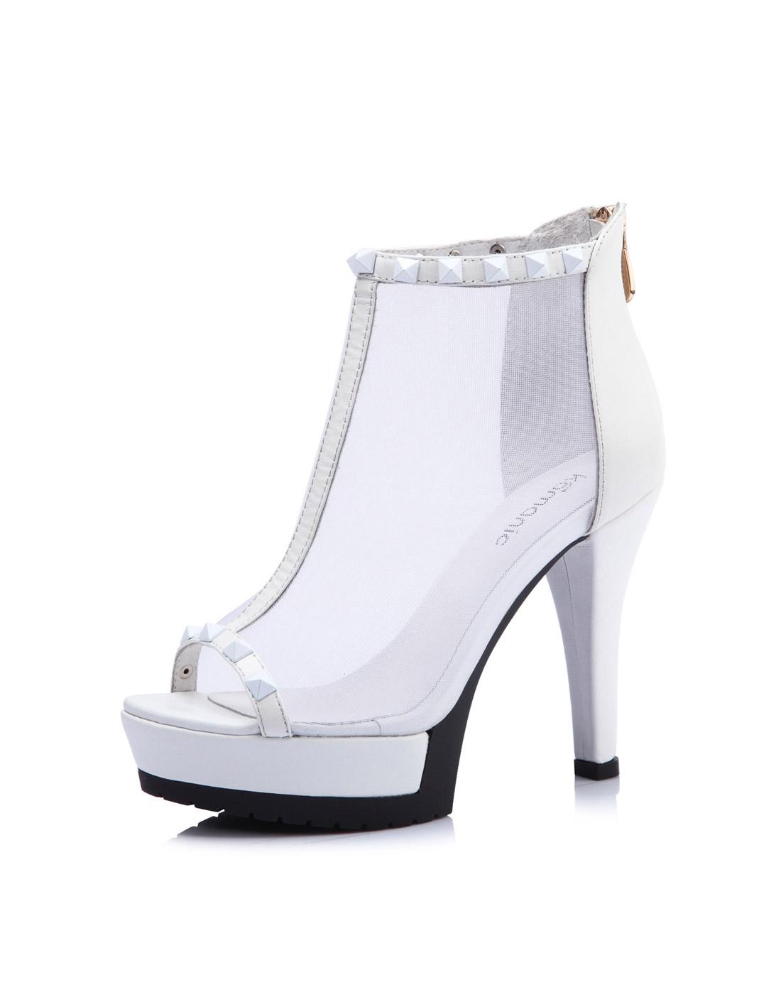 一字带高防水台高跟凉鞋
