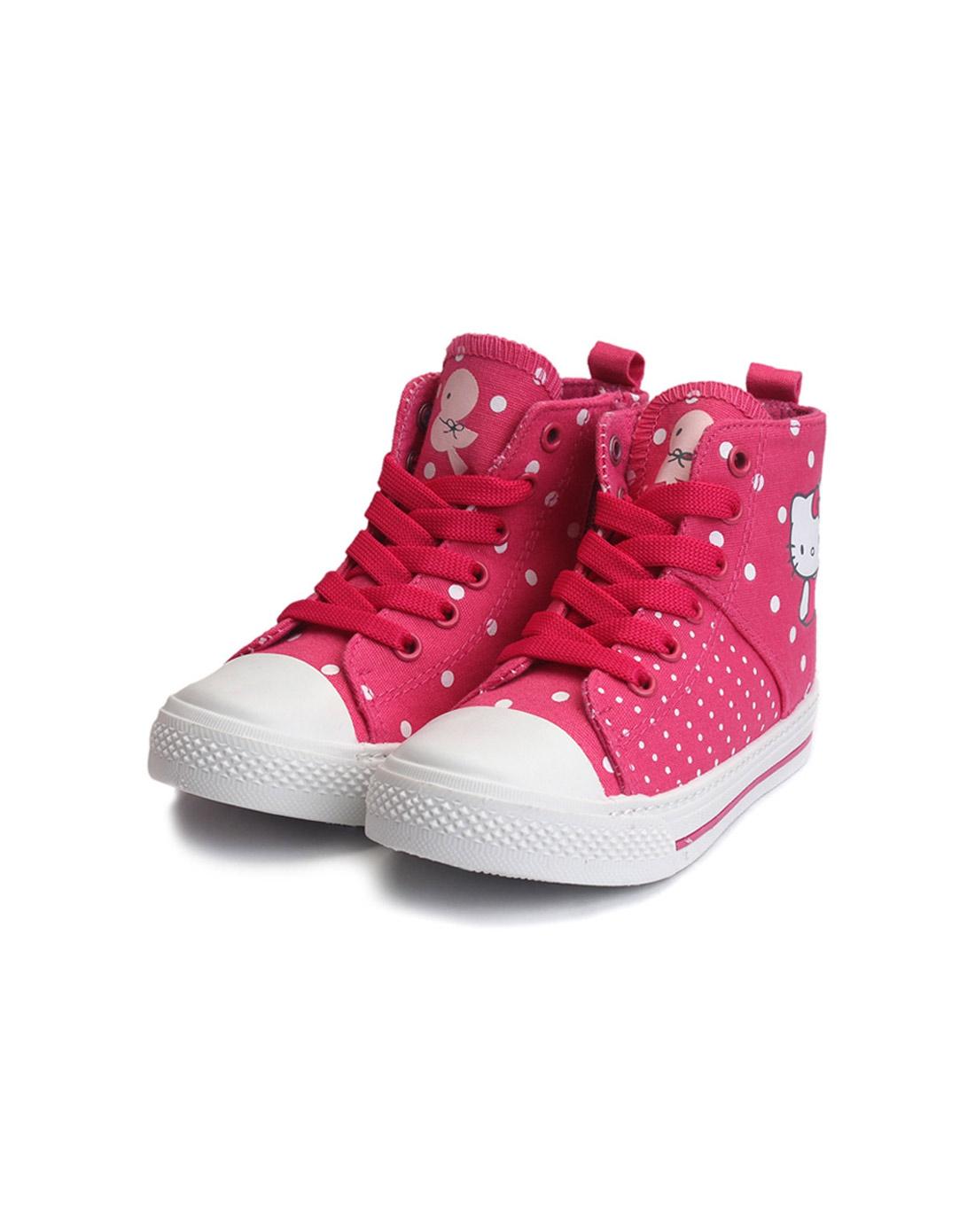 女童玫红色卡通帆布鞋