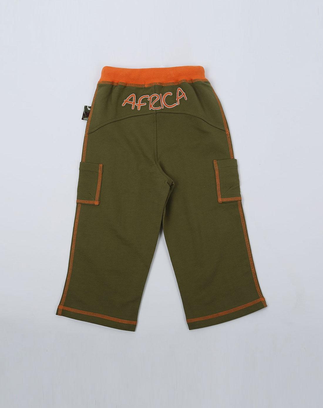 男童军绿色非洲探险针织裤子
