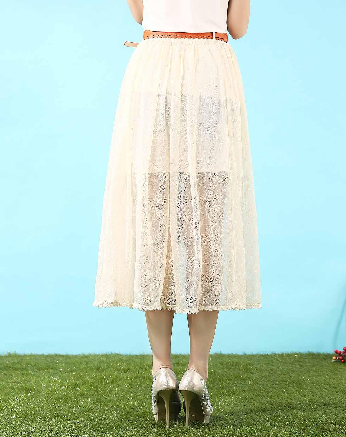 米色蕾丝长裙图片