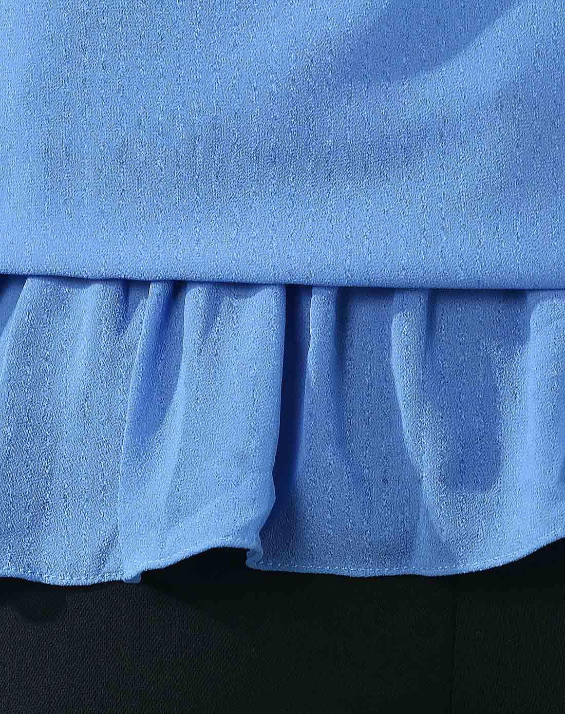 浅蓝色花边短袖雪纺衫