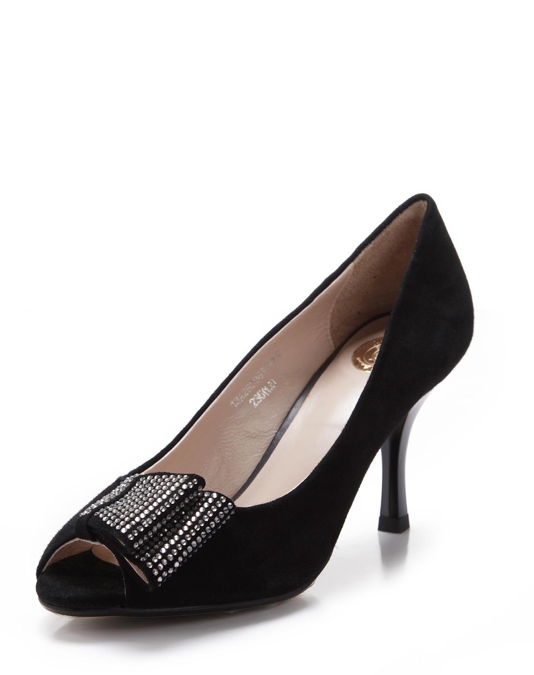 黑色京水钻细跟高跟鞋