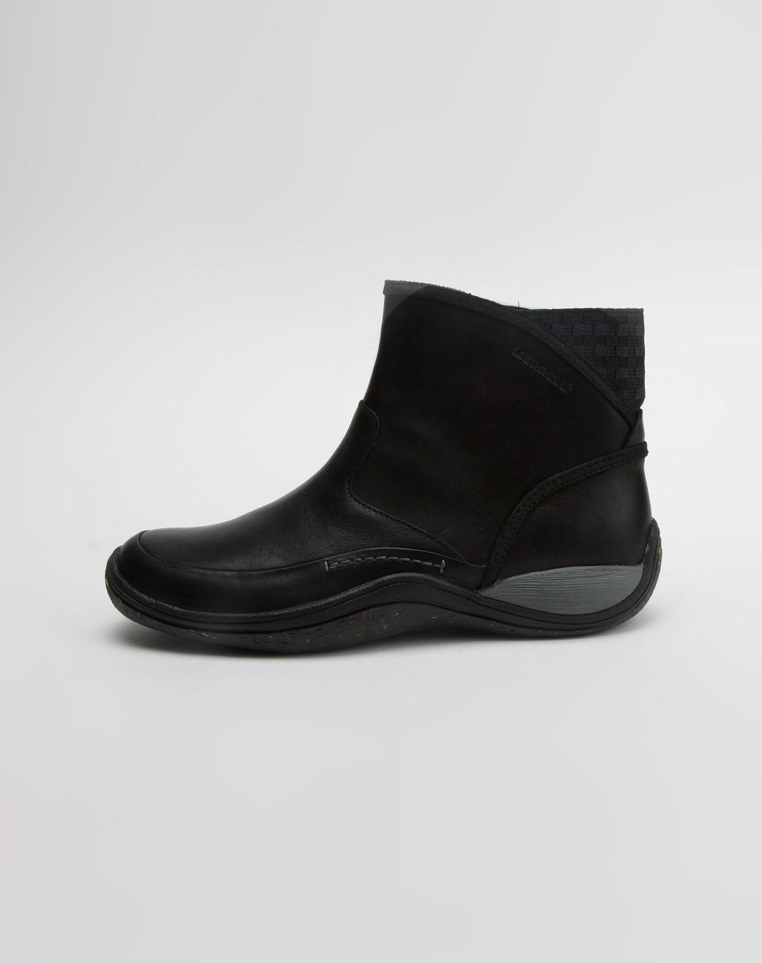 黑色高帮休闲鞋女真皮平底
