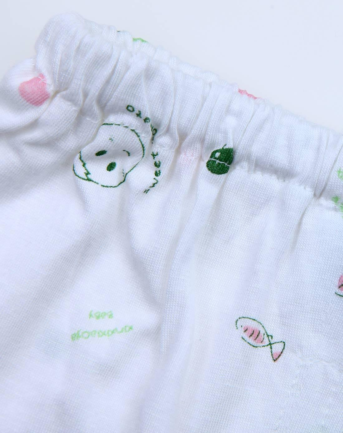 婴儿白底绿笑脸竹纤维单面布桃领全开套