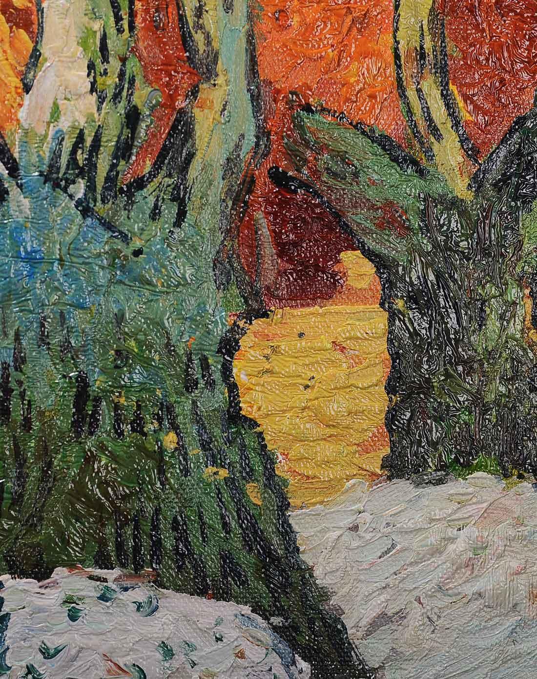纯手绘油画-梵高行道树