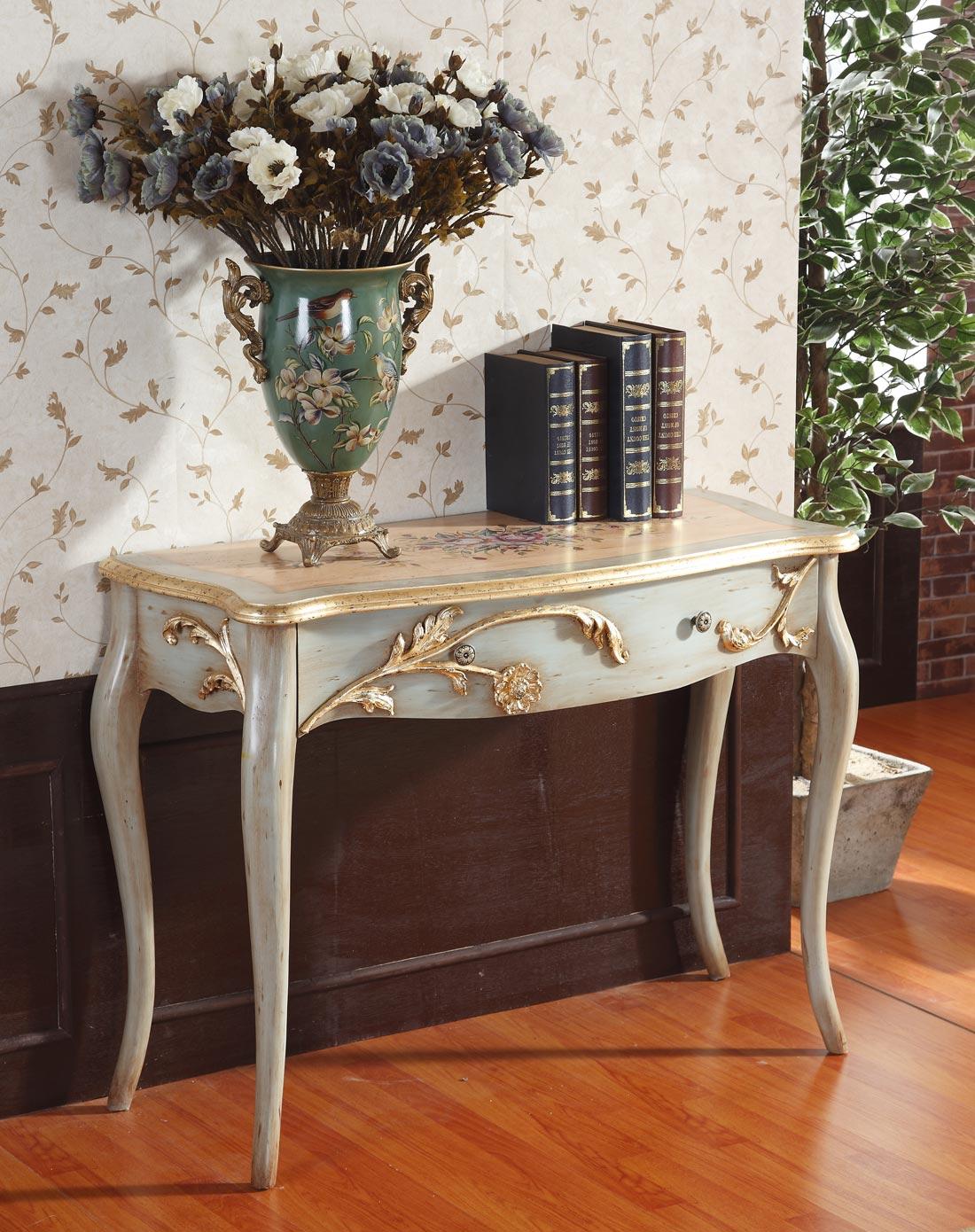 欧式浮雕花纹古典玄关桌