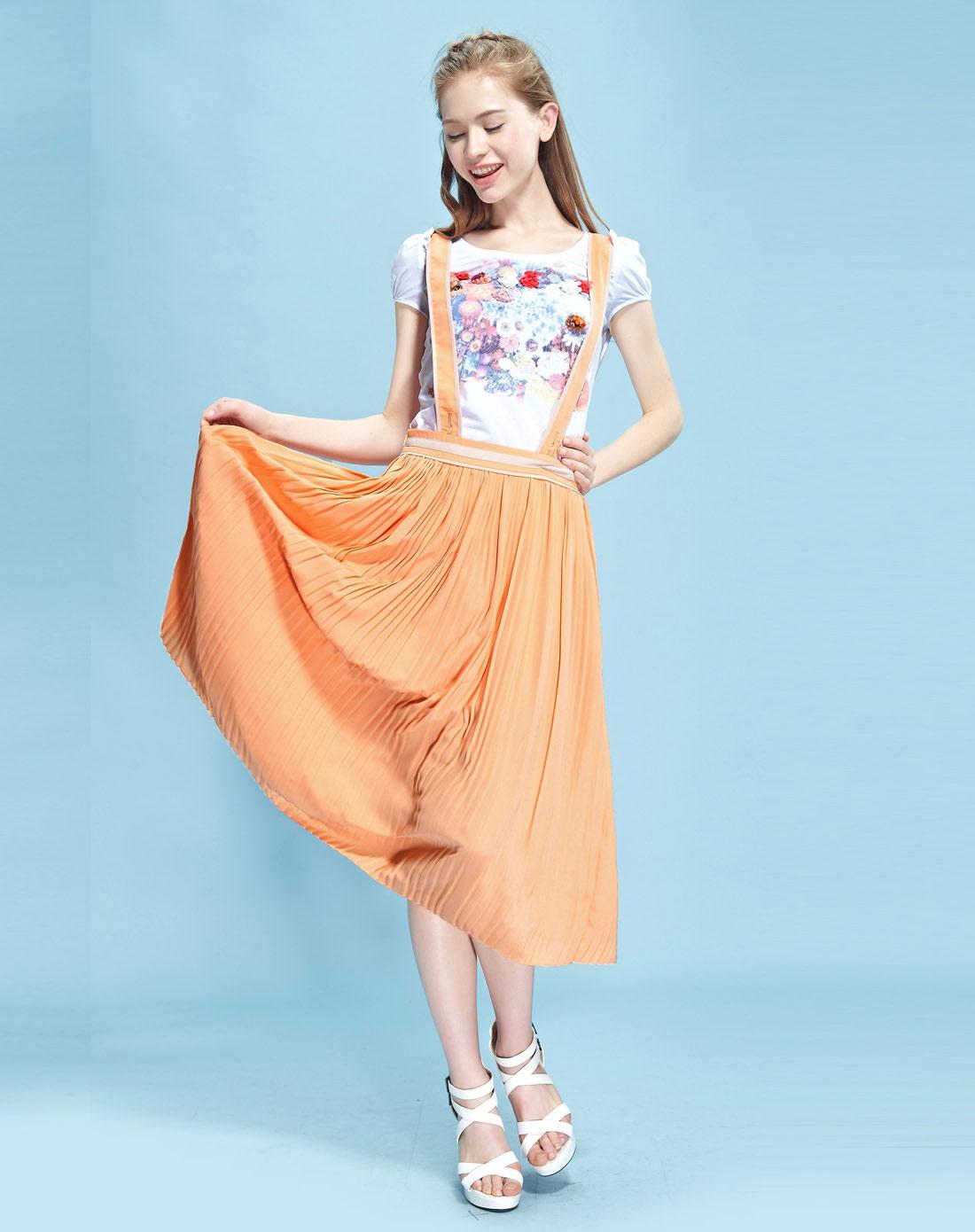 菲妮尔firy桔可拆卸背带收腰半长裙53220902610