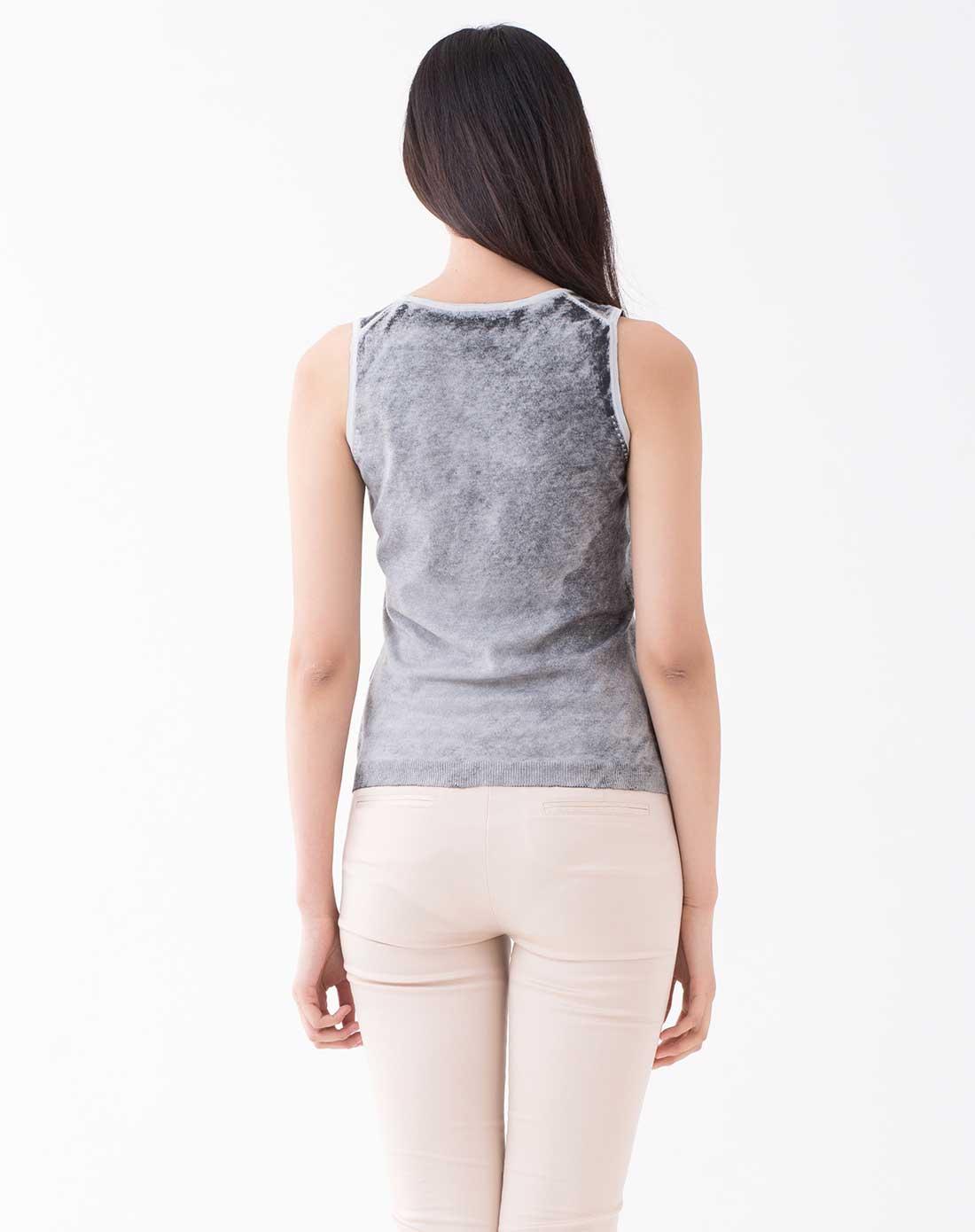 灰色针织背心