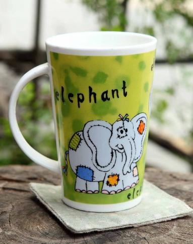 圆形动物图案陶瓷杯大象