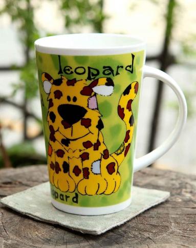 圆形动物图案陶瓷杯豹子