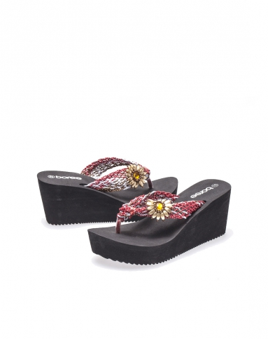 boree红色太阳花编织带坡跟拖鞋