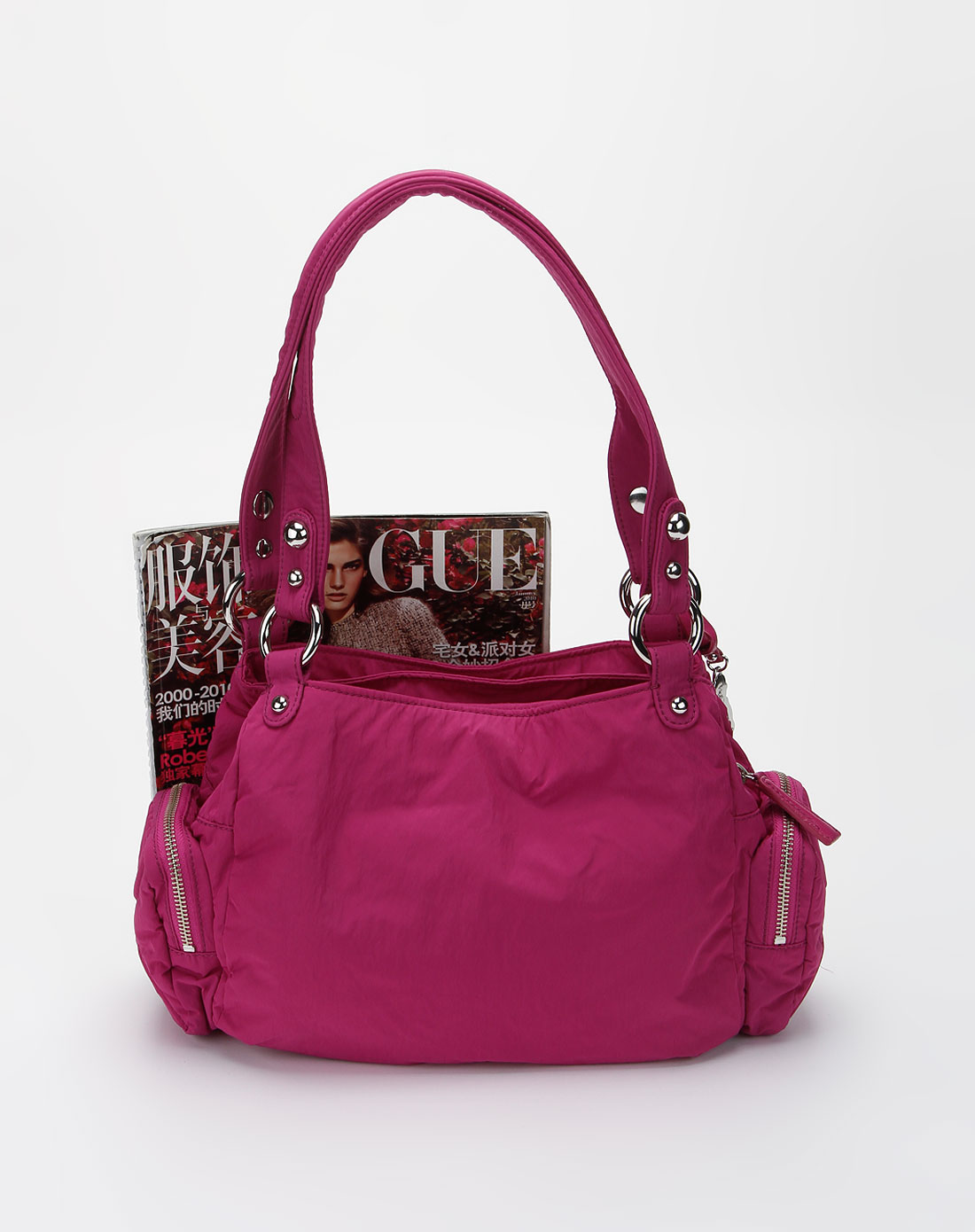 女款新视界紫红色背提包