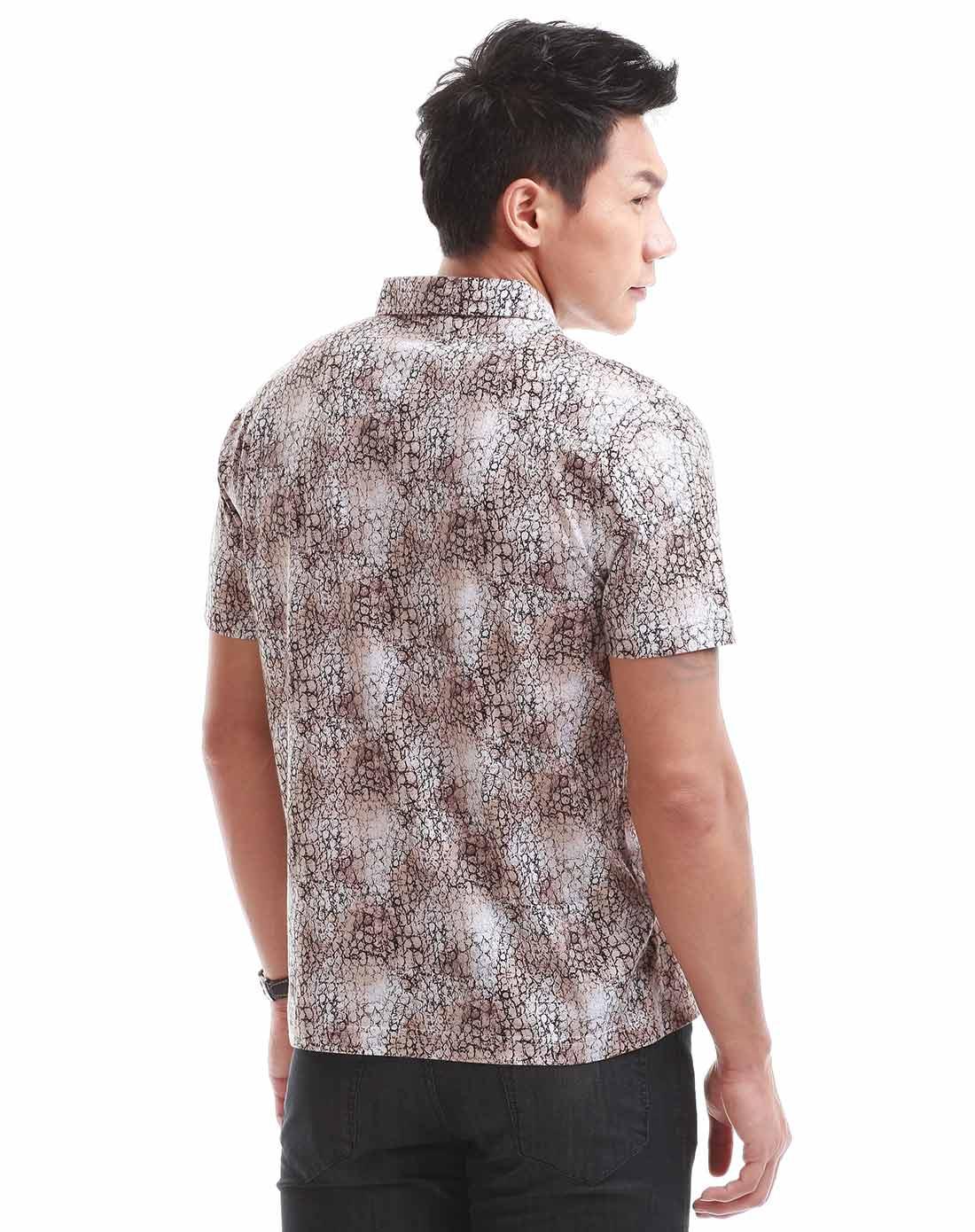 才子男装咖啡色短袖时尚t恤