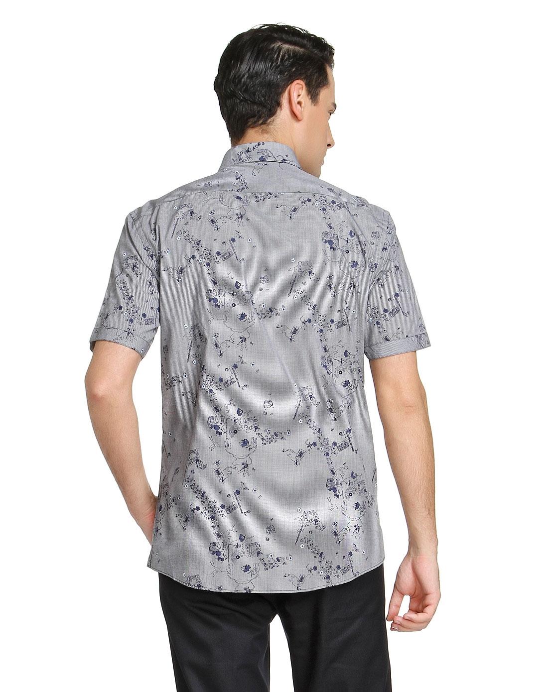 喬治白giuseppe男士襯衫專場-黑白格子底印花短袖襯衫圖片