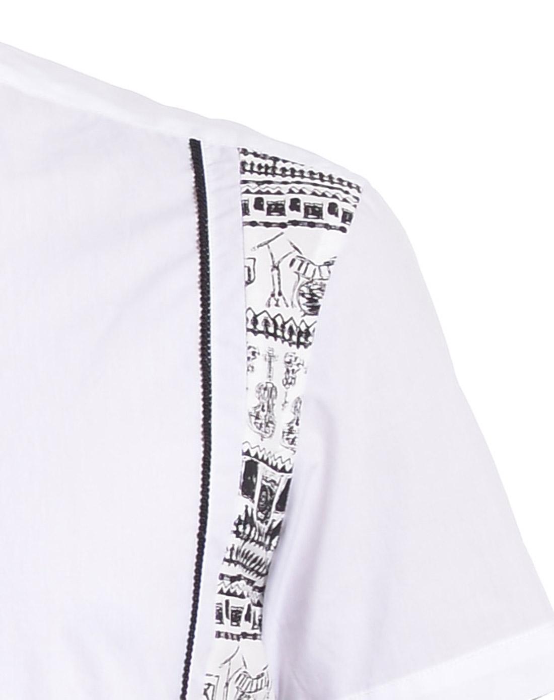 利郎 个性手绘图白色短袖衬衫