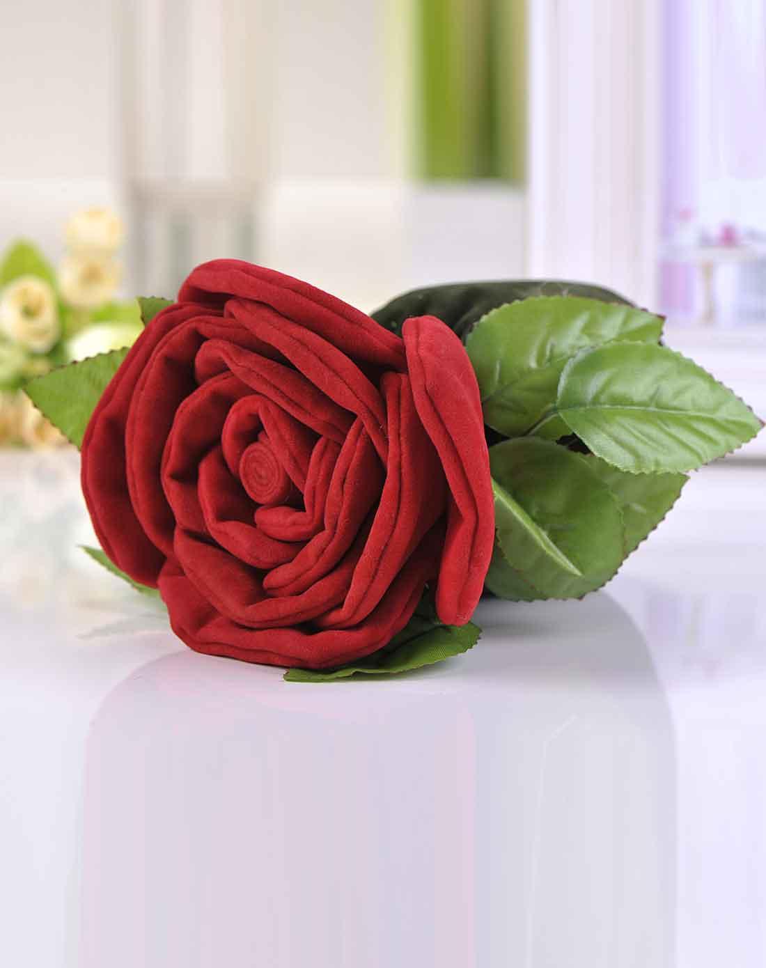 > 大红玫瑰花竹炭手工布艺花