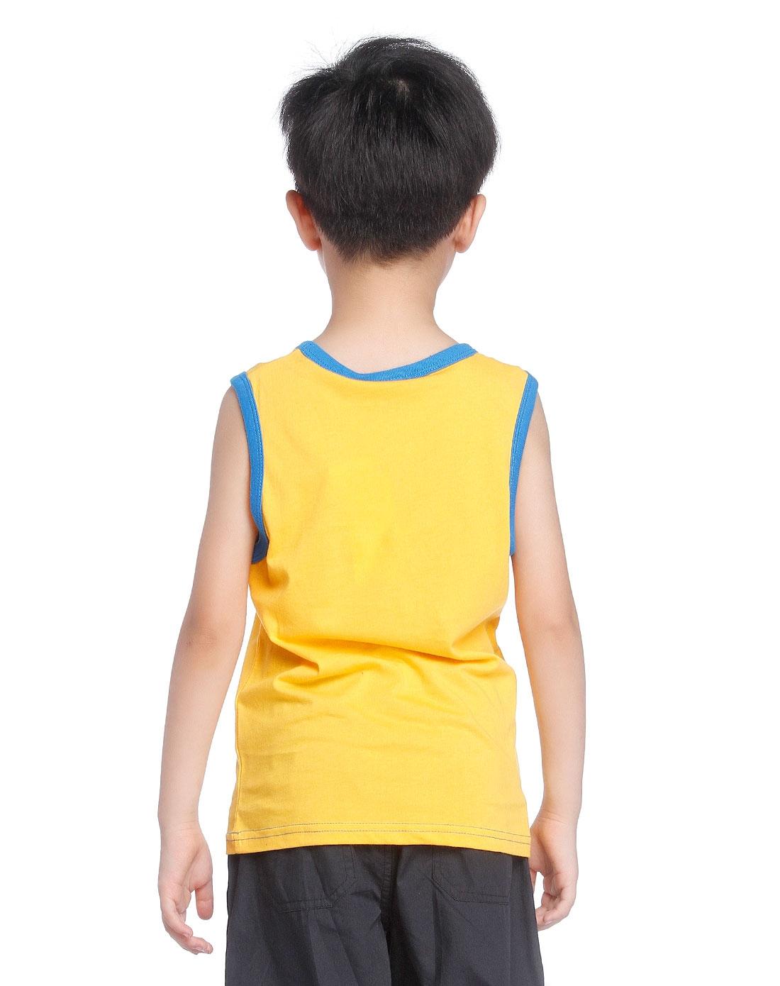 男童活泼黄色针织背心