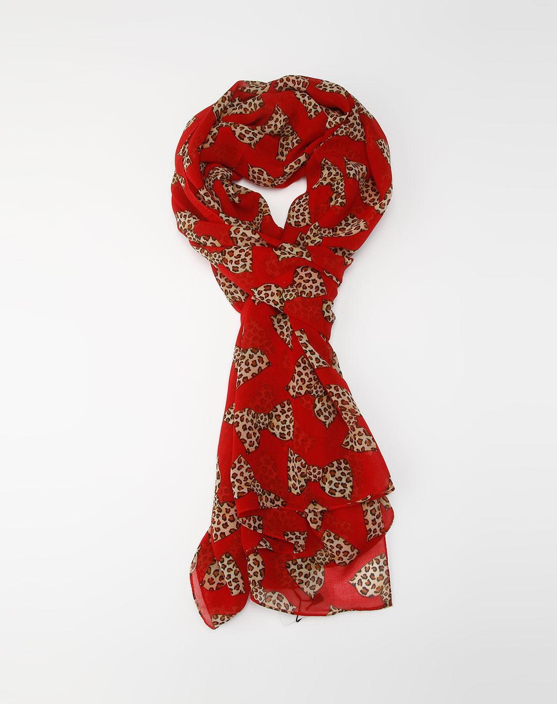 女款红色蝴蝶结丝巾
