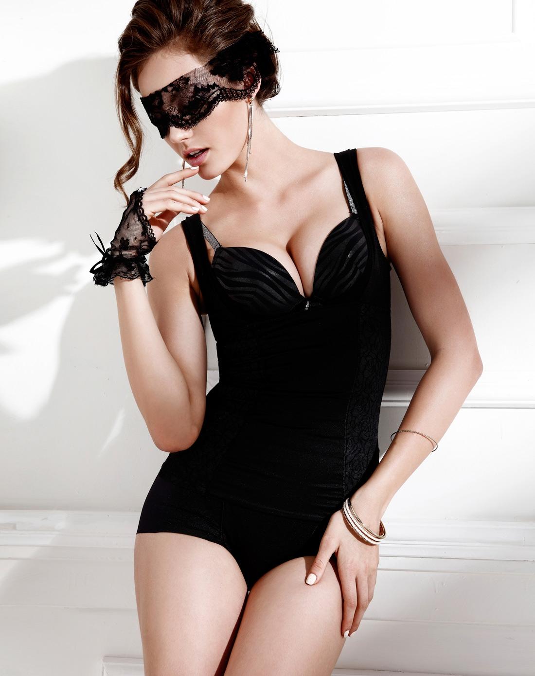 梦芭莎moonbasa内衣专场女款黑色无痕蕾丝美胸收腹佳