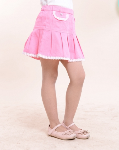 viv&lul男女童装女童可爱花边桃红短裙ls20342072021