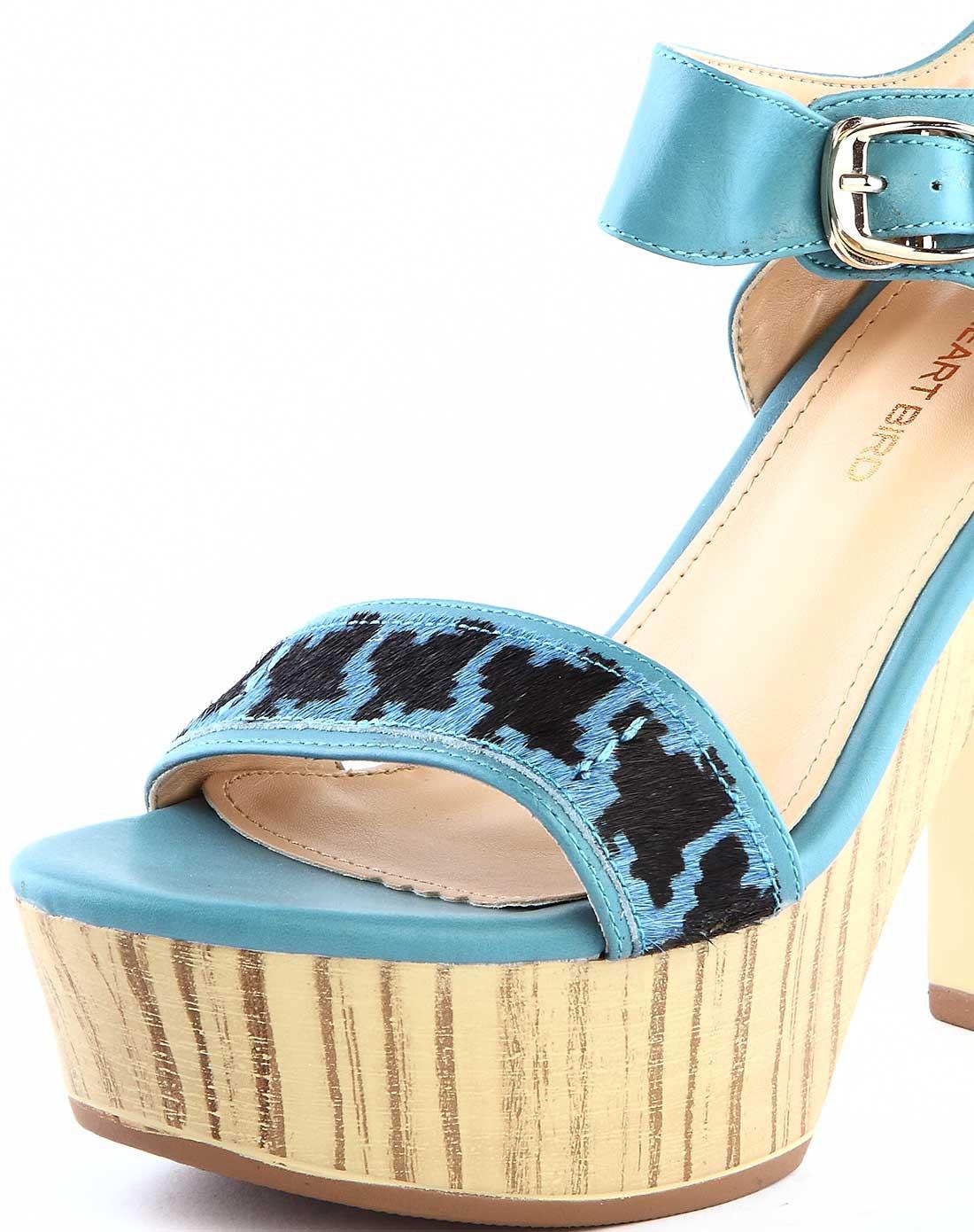 兰色个性几何花纹高跟凉鞋