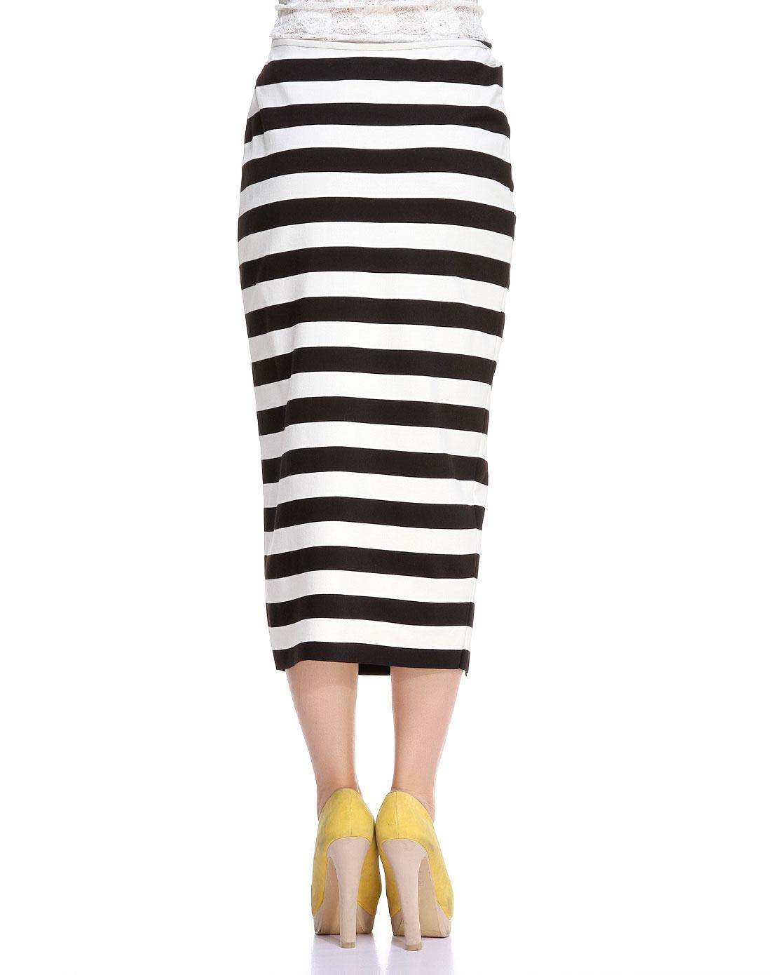 la chapelle 英伦风黑白色条纹半身裙