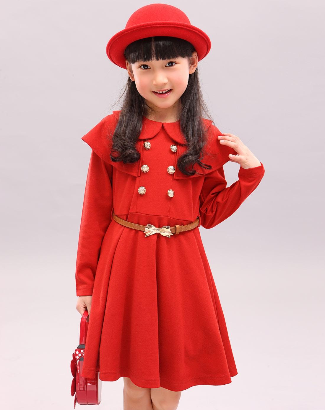 女童枣红色裙子qc