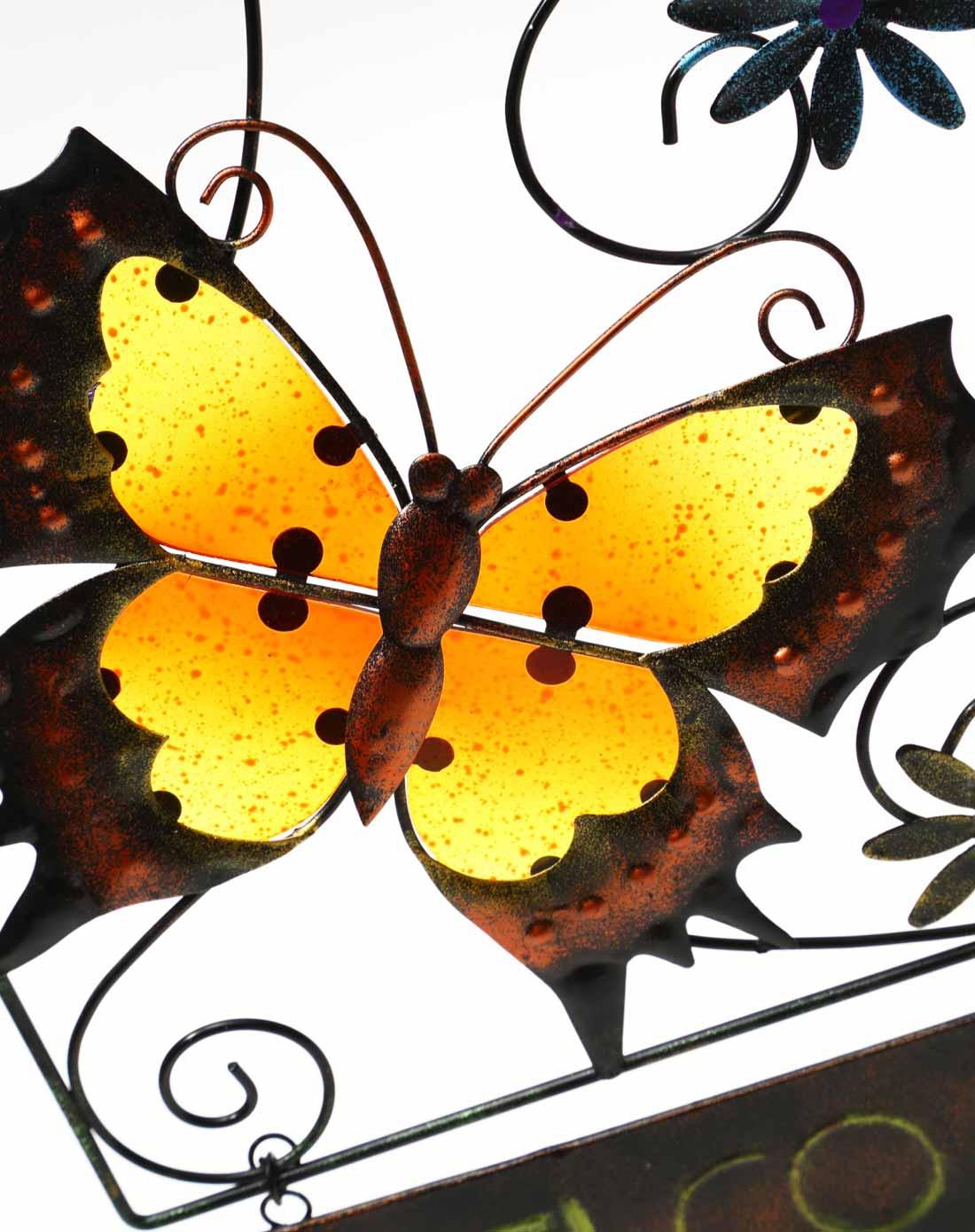 > 蝴蝶铁艺 热熔手绘玻璃装饰园艺门挂