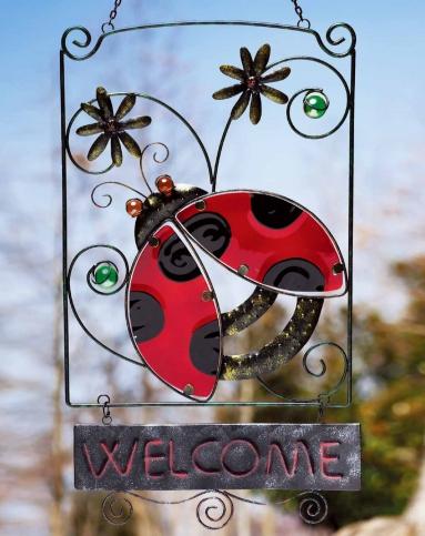 > 甲壳虫铁艺 热熔手绘玻璃装饰园艺门挂