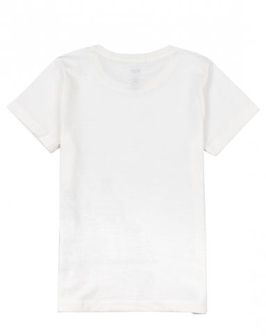 男童米白手绘画短袖t恤