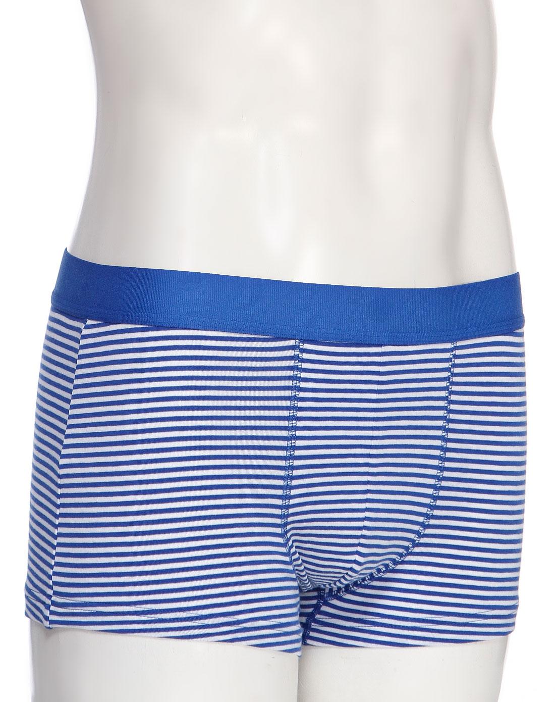 蓝白条纹舒适平角内裤