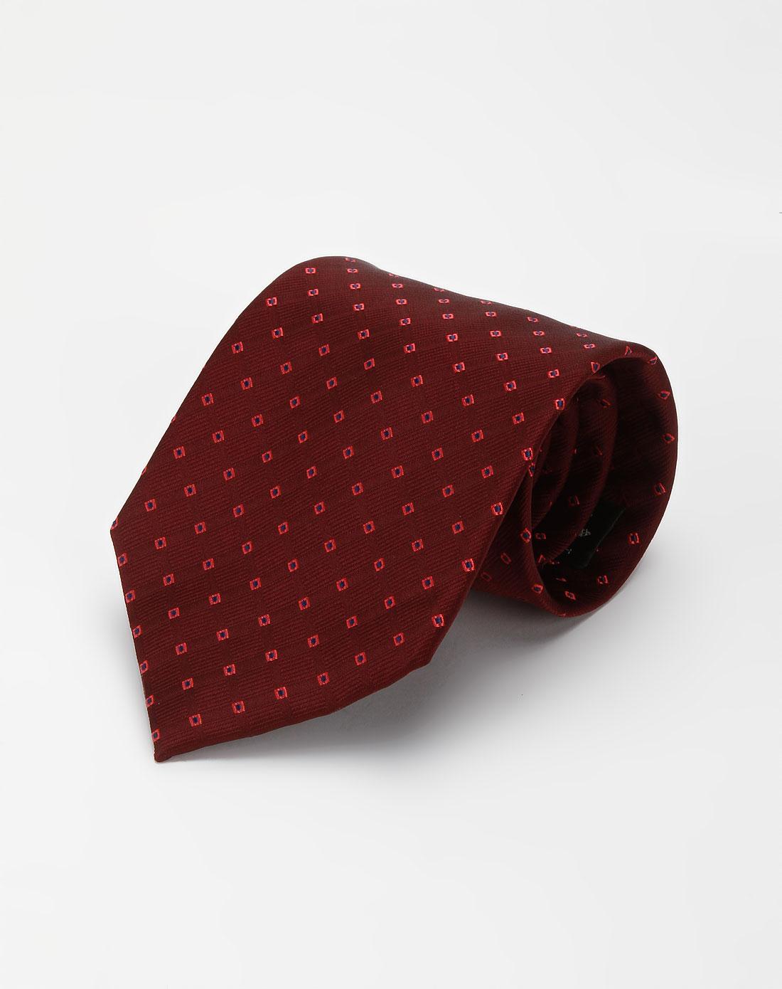 酒红色印花领带