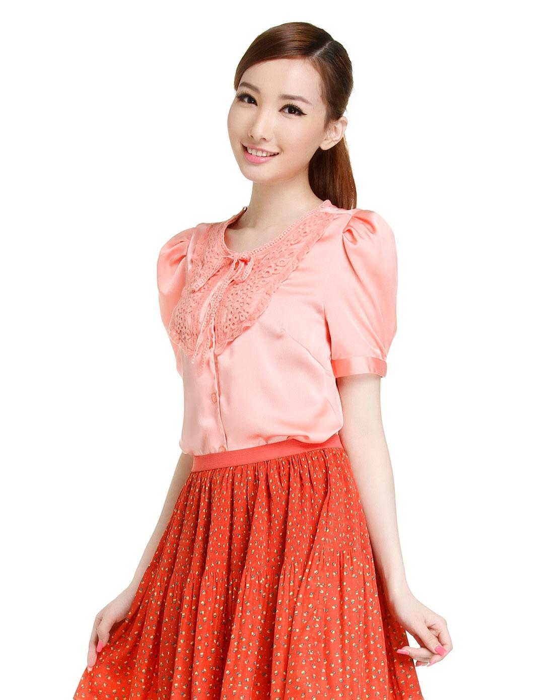 东方骆驼百搭可爱粉红色短袖衬衫7320009132-嫩粉红