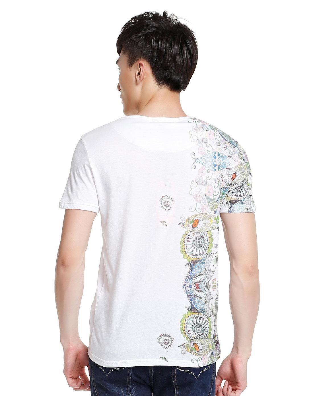 个性手绘鱼图白色短袖t恤