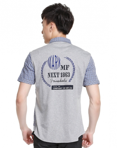 后背印字蓝色短袖格仔衬衫