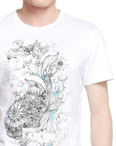 手绘涂鸦白色短袖t恤