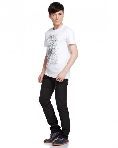 jeans手绘涂鸦白色短袖t恤