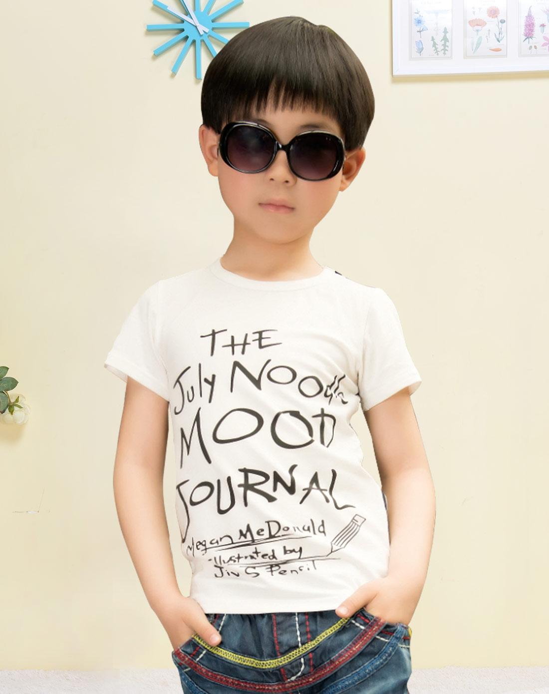 男童白色手绘字母短袖t恤