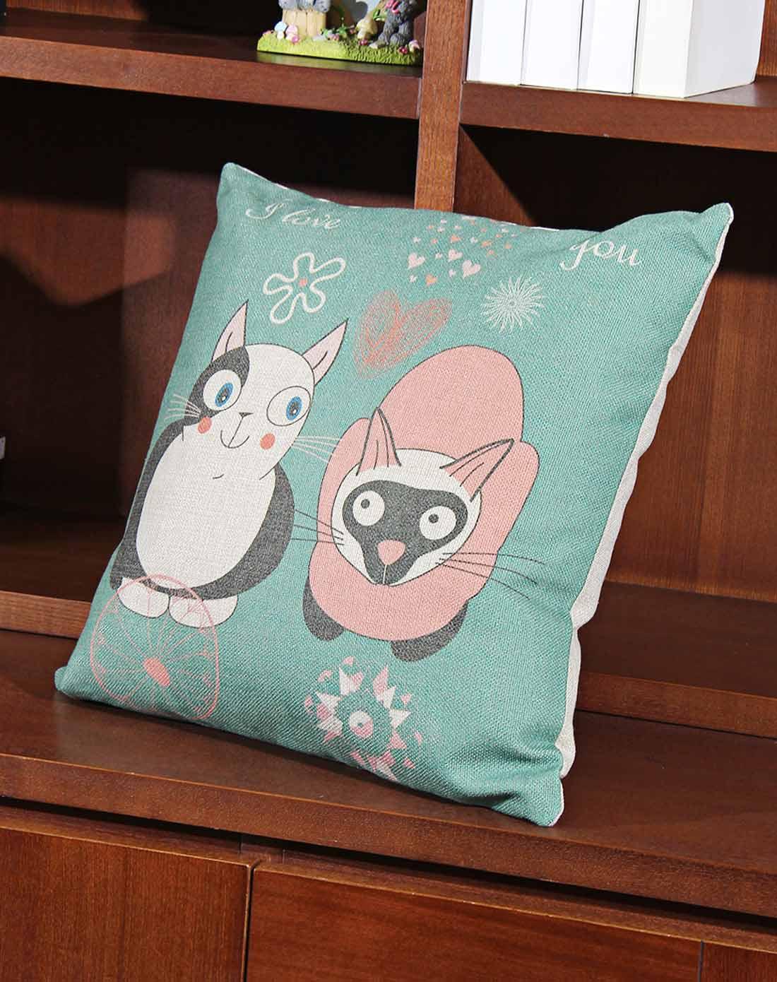 可爱小猫图案棉麻抱枕
