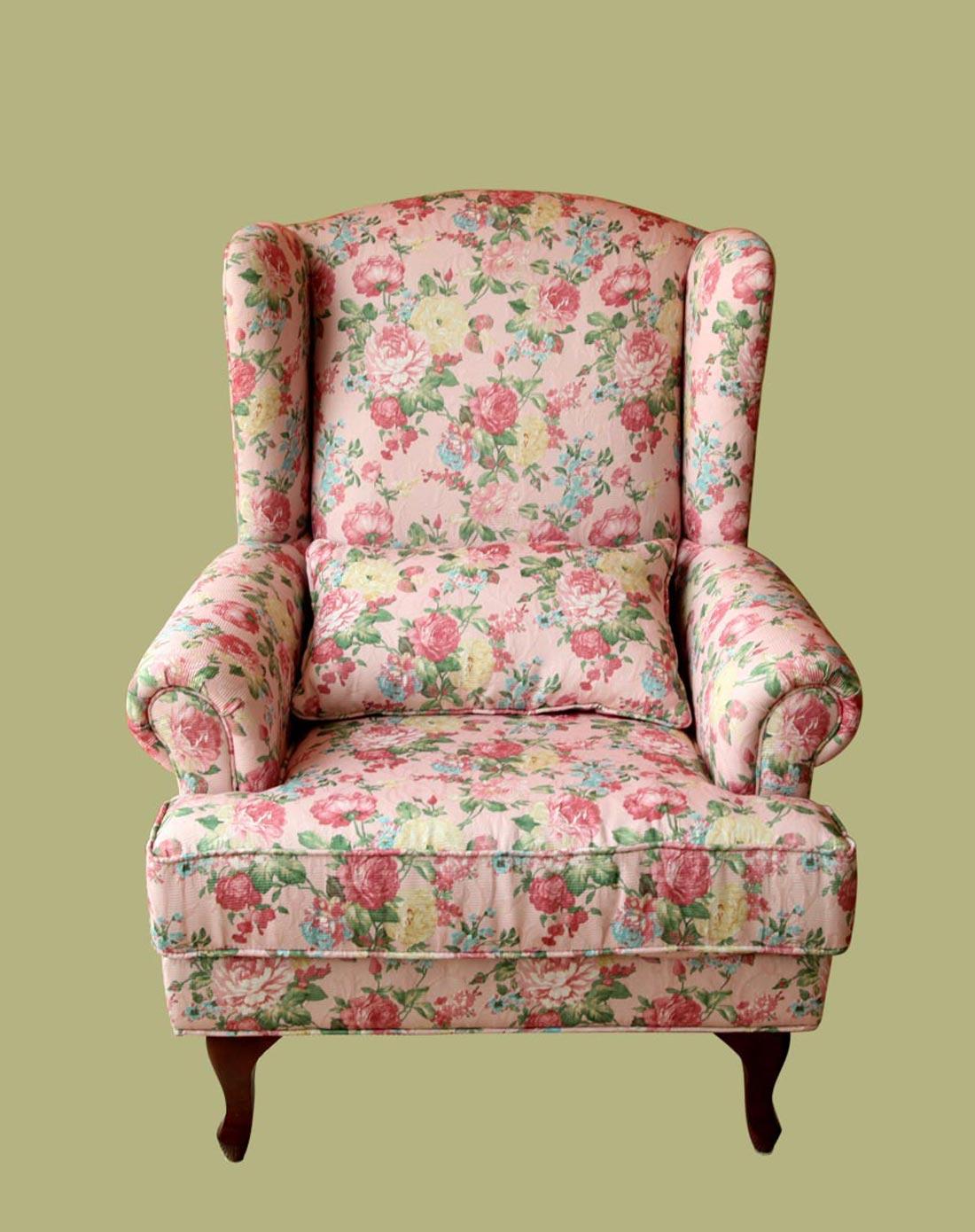 鱼西美屋专场粉底花纹高档布艺欧式老虎椅单人沙发