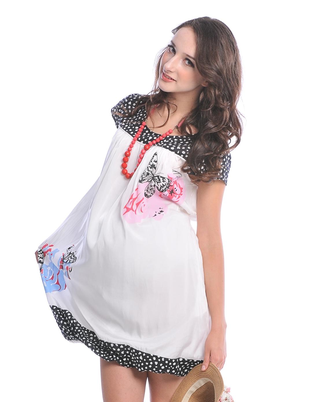 欧美孕妇qvod_贝儿森欧美休闲舒适孕妇半袖印花裙