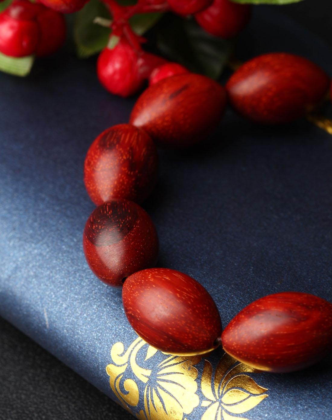 悦木之源天然小叶紫檀顺纹橄榄珠手链xy04ym23q009