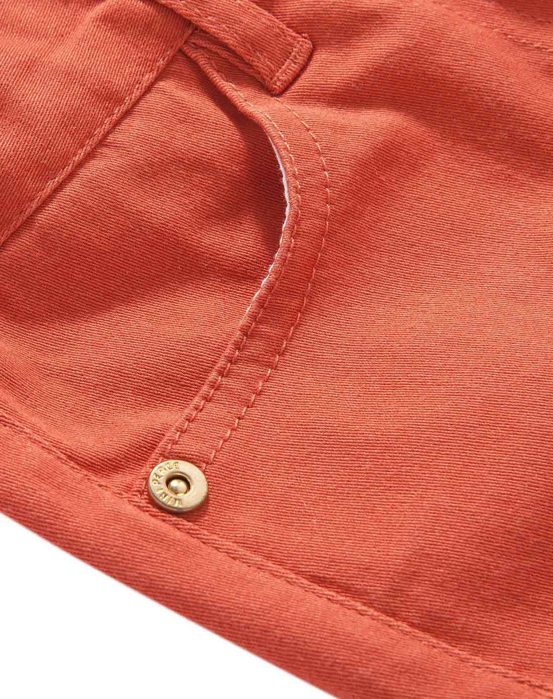 女童橘红色牛仔裤