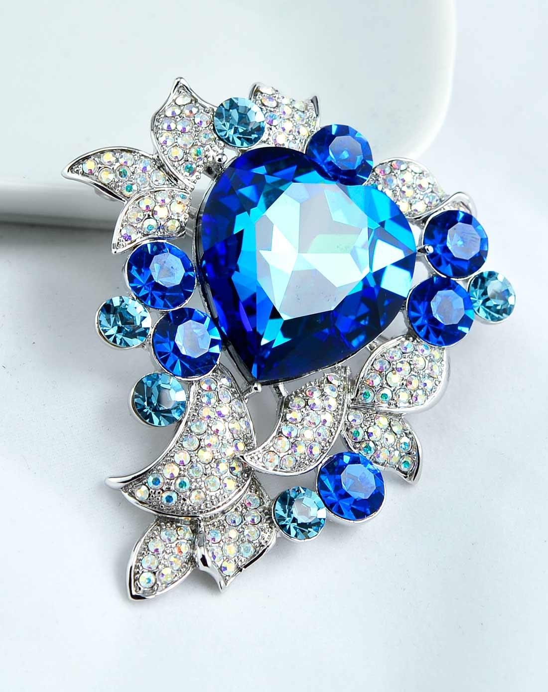 海洋之心水晶胸针-蓝色