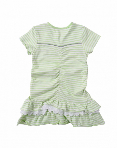 女童绿条色花边裙子