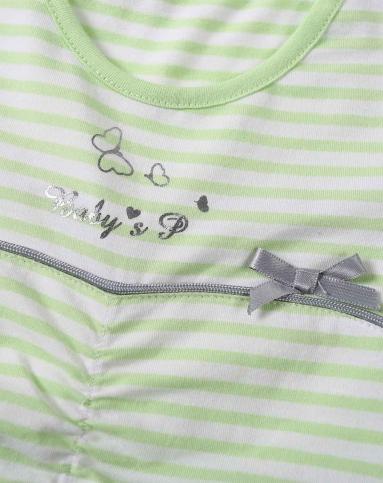 贝贝王国pepevega婴幼童服饰专场女童绿条色花边裙子